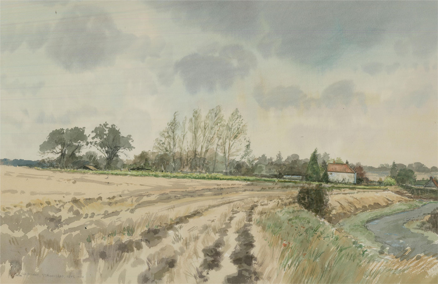 Keith Johnson (1931-2018) - 1990 Watercolour, Toad Lane, Great Plumstead