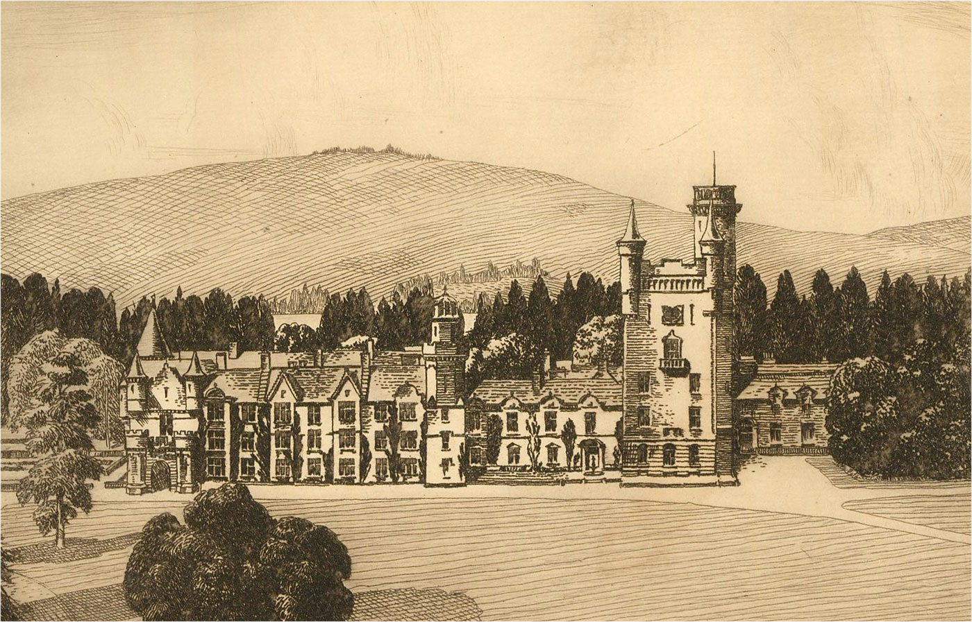 S. Buckley - Early 20th Century Etching, Balmoral Castle