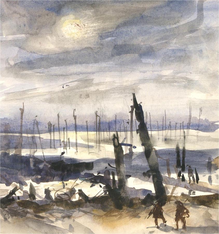 Ronald Olley (b.1923) - 20th Century Watercolour, War Scene