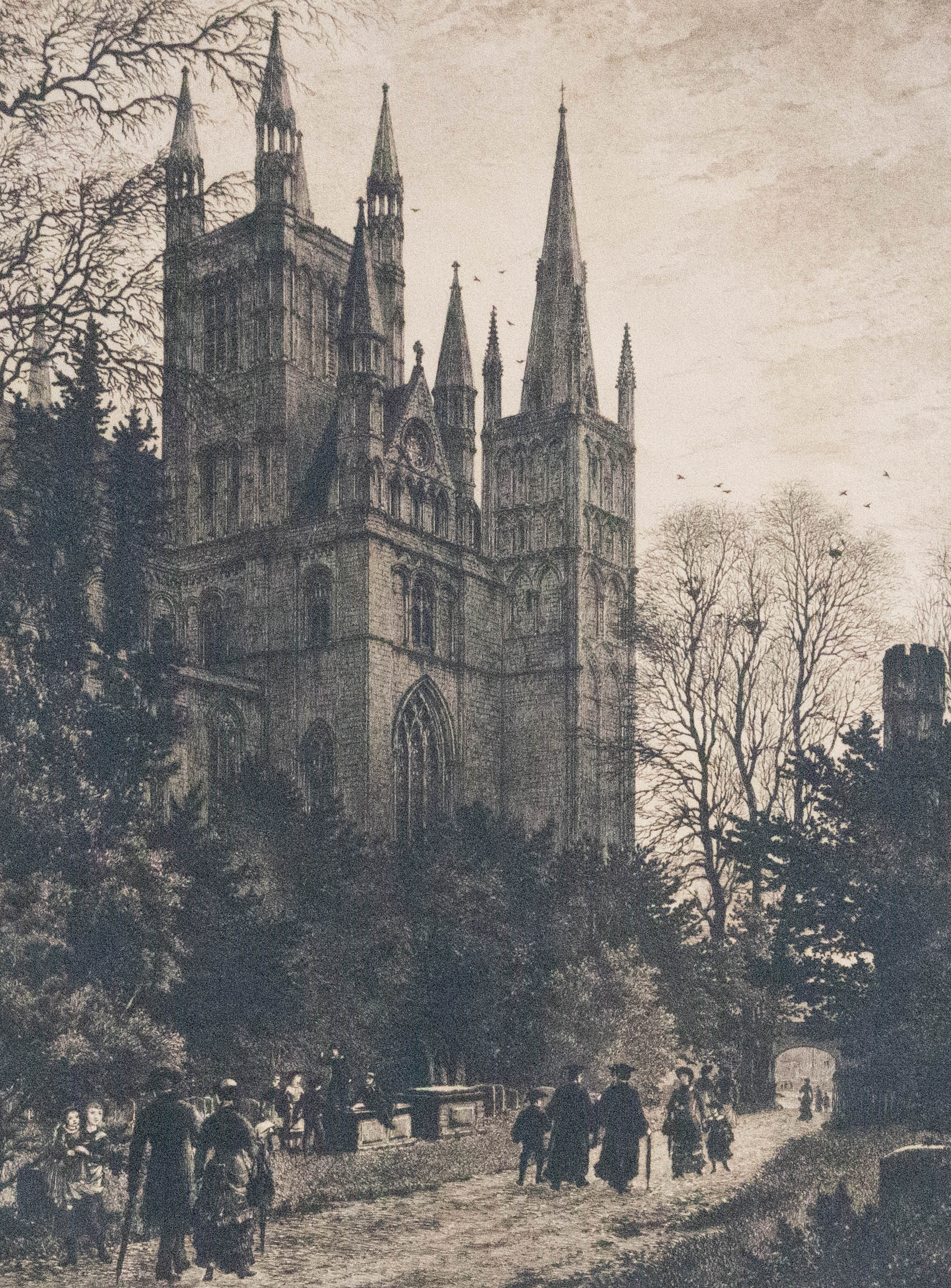 Axel Herman Haig (1835-1921) -Early 20th Century Etching, Peterborough Cathedral