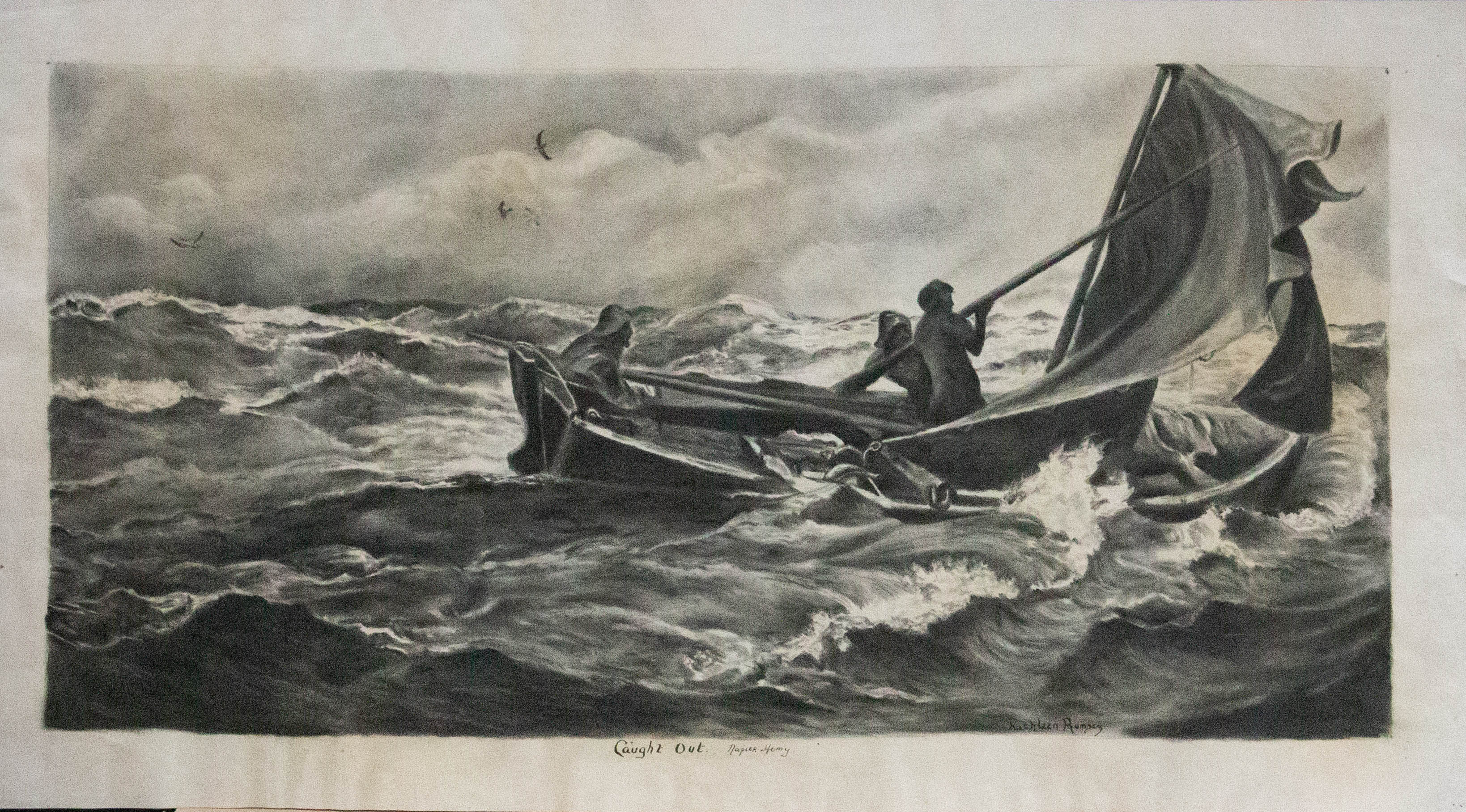 Kathleen Rumsey After Napier Hemy  - 20th Century Charcoal Drawing, Caught Out