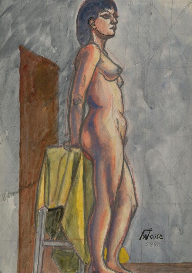 Francois Xavier Josse (1910-1991) - 1986 Watercolour, Standing Nude