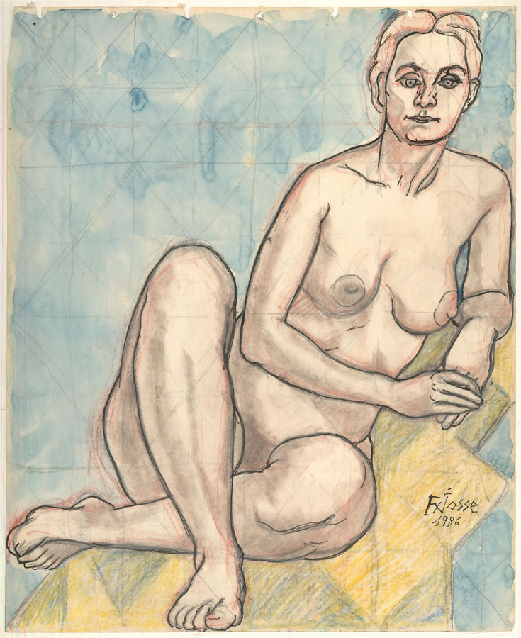 Francois Xavier Josse (1910-1991) - 1986 Watercolour, Nude Study