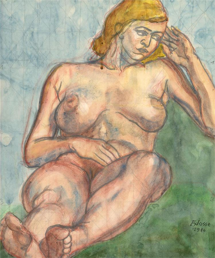 Francois Xavier Josse (1910-1991) - 1986 Watercolour, Reclining Nude