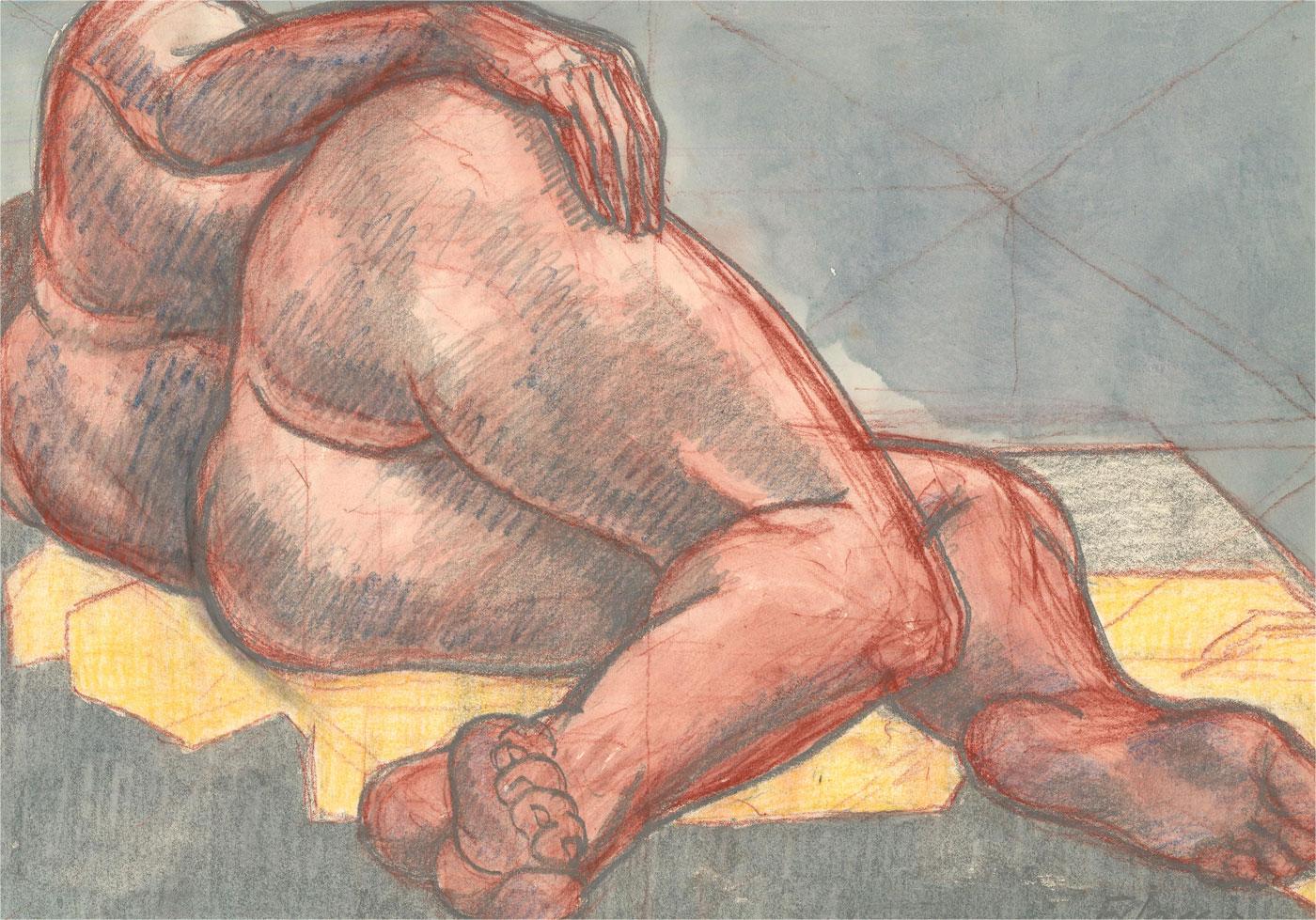 Francois Xavier Josse (1910-1991) - 20th Century Watercolour, Nude on Grey