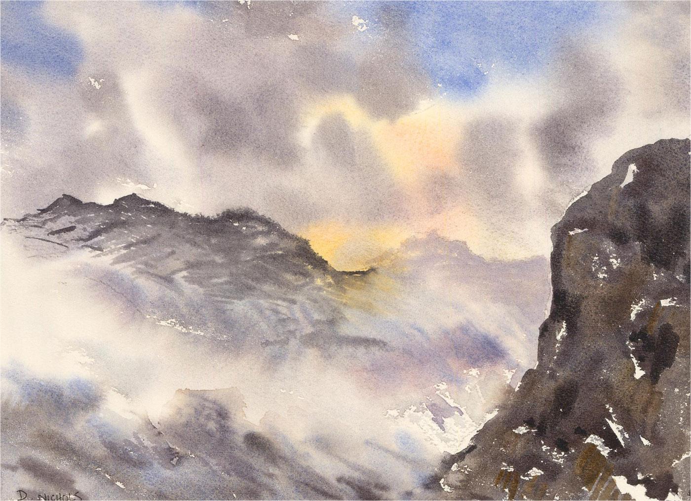 Daniel Nichols - Contemporary Watercolour, Bowfell Peak, Lake District