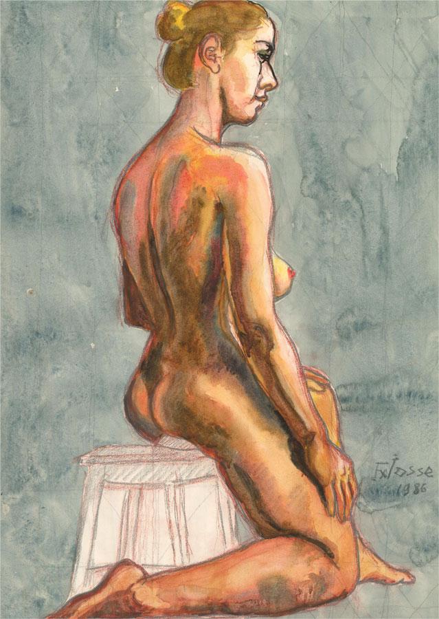 Francois Xavier Josse (1910-1991) - 1986 Watercolour, Seated Nude on Stool
