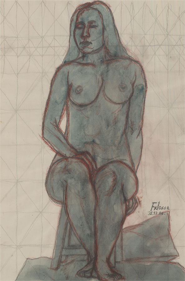 Francois Xavier Josse (1910-1991) - 1986 Watercolour, Seated Nude in Blue