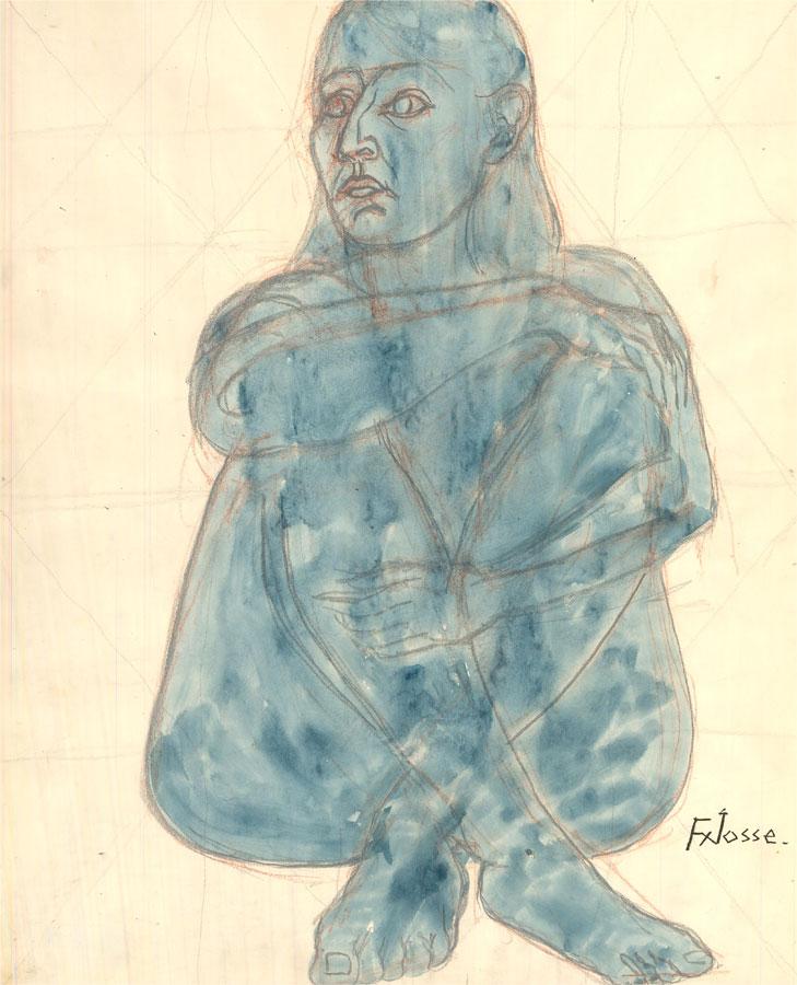 Francois Xavier Josse (1910-1991) - 20th Century Watercolour, Nude Study