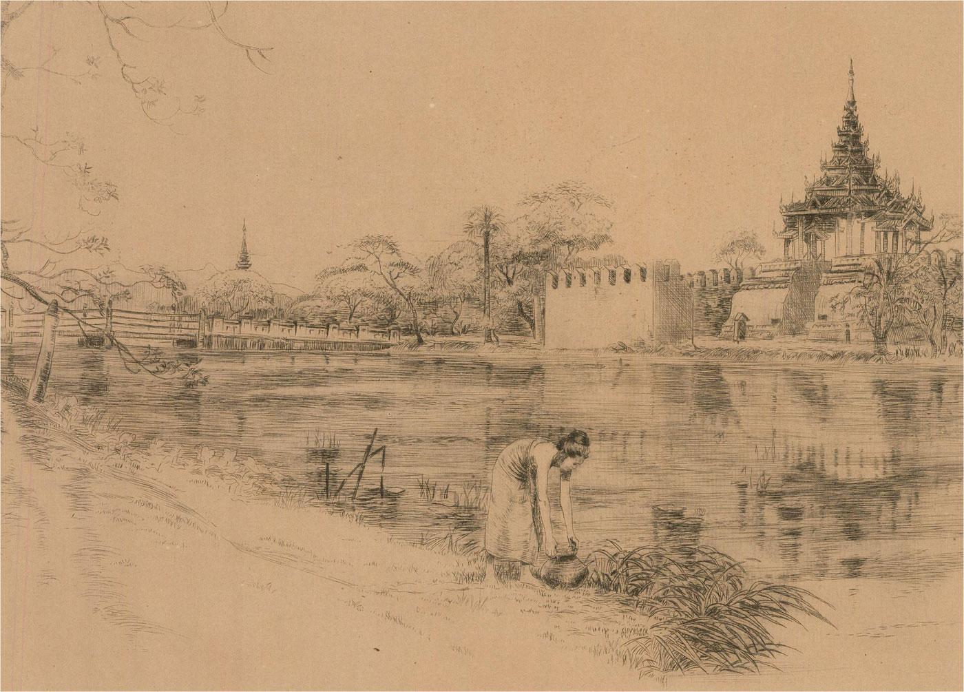 Eric Gordon MacColl (1896-1973_ - 1928 Etching, The South Moat, Mandalay