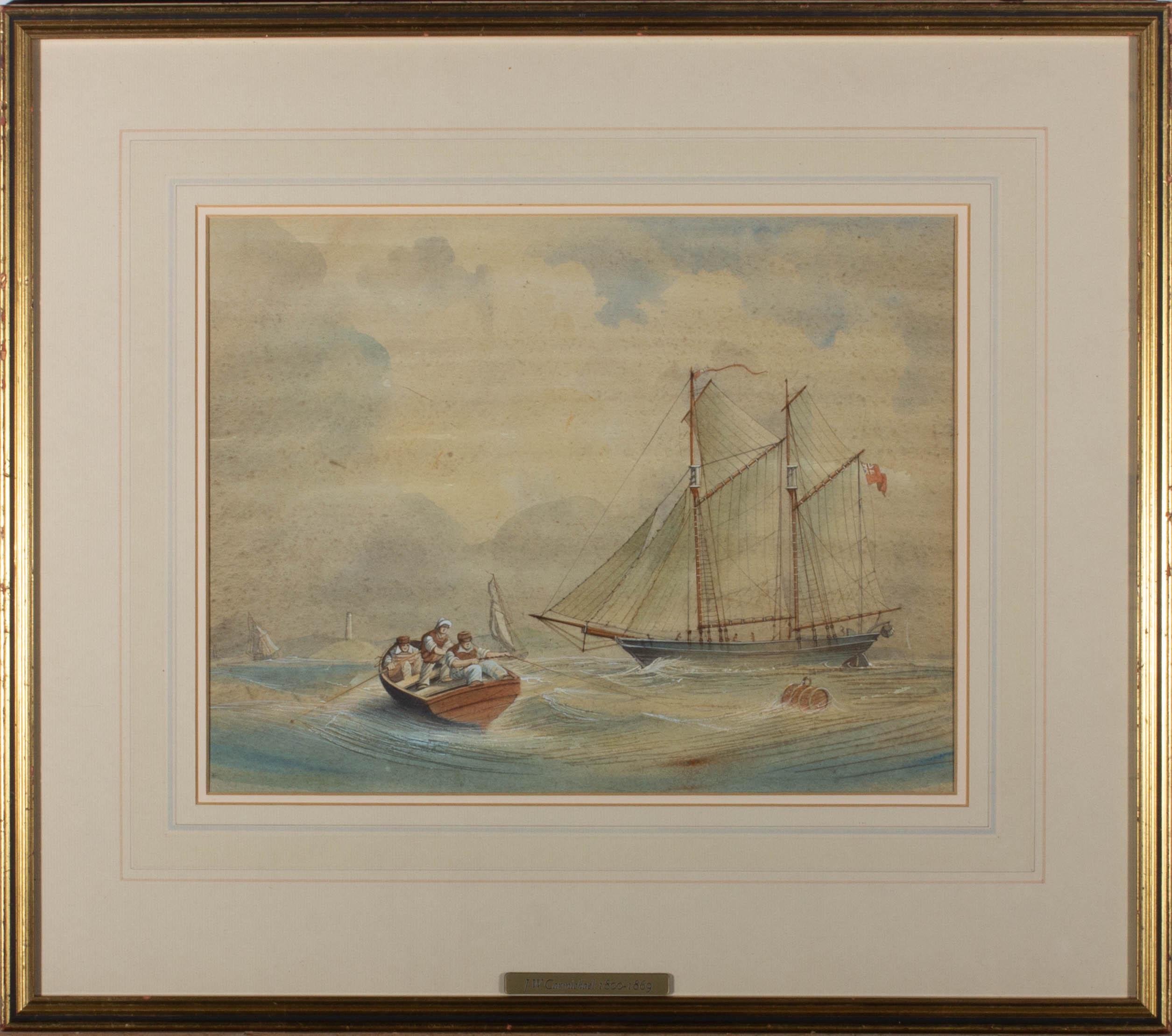 Follower of J.W. Carmichael (1800-1868) - Early 19th Century Watercolour, Ketch