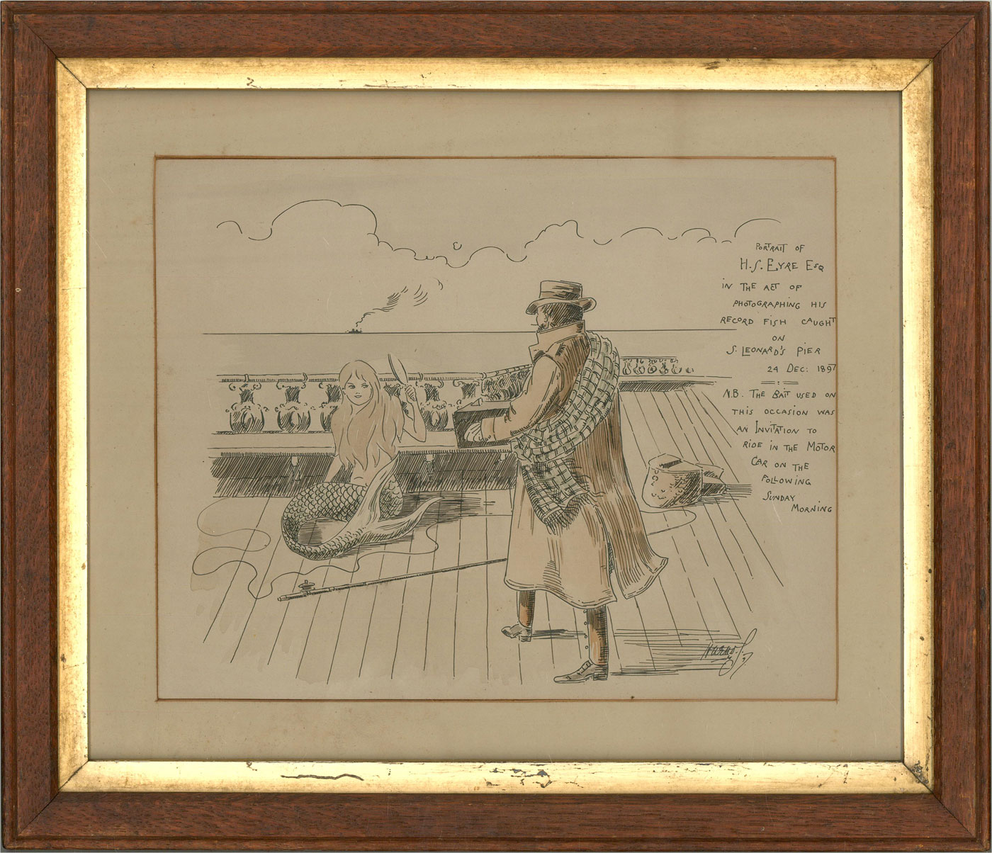 1897 Pen and Ink Drawing - The Big Catch