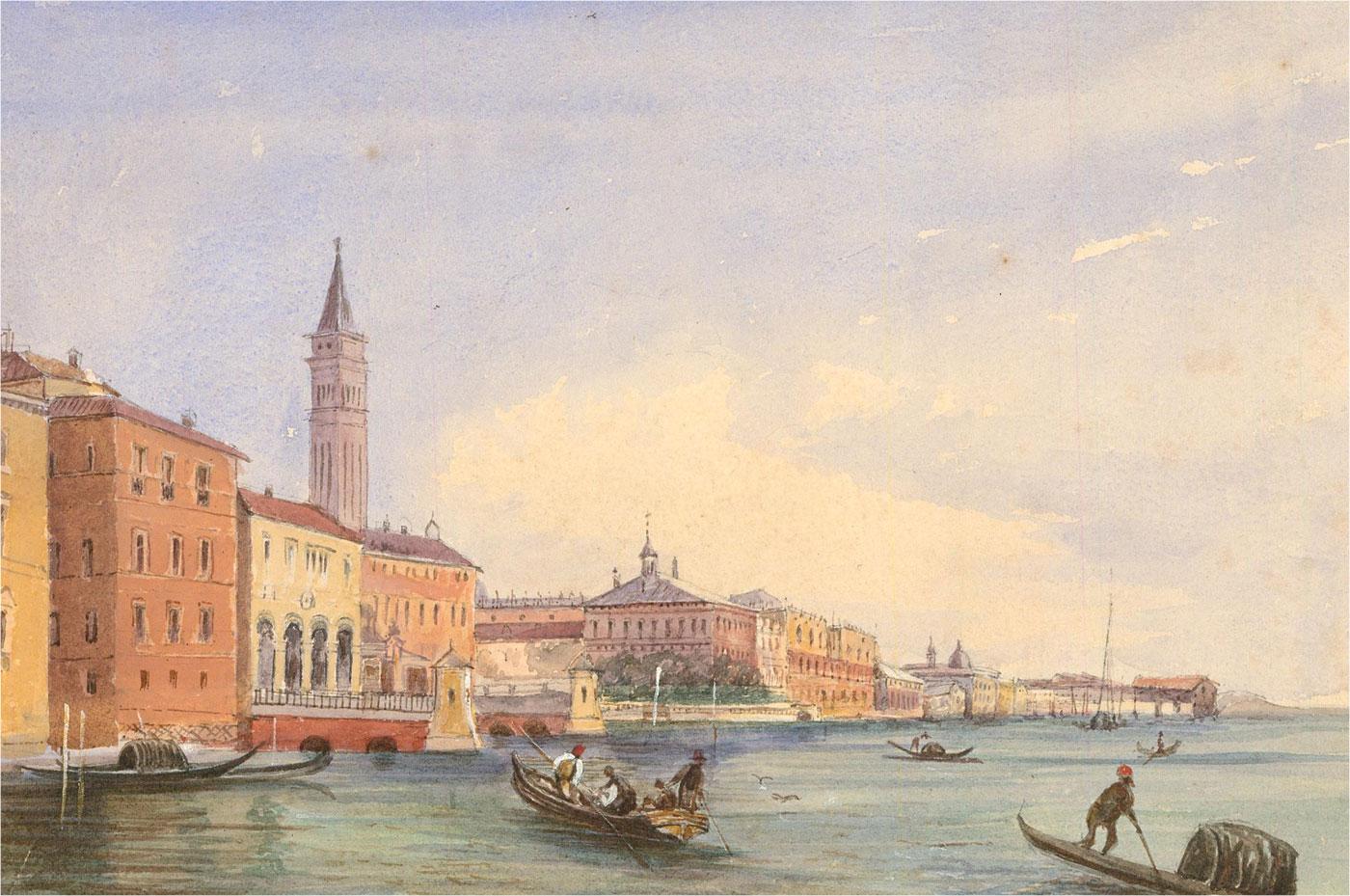 Late 19th Century Watercolour - Venetian Gondolas