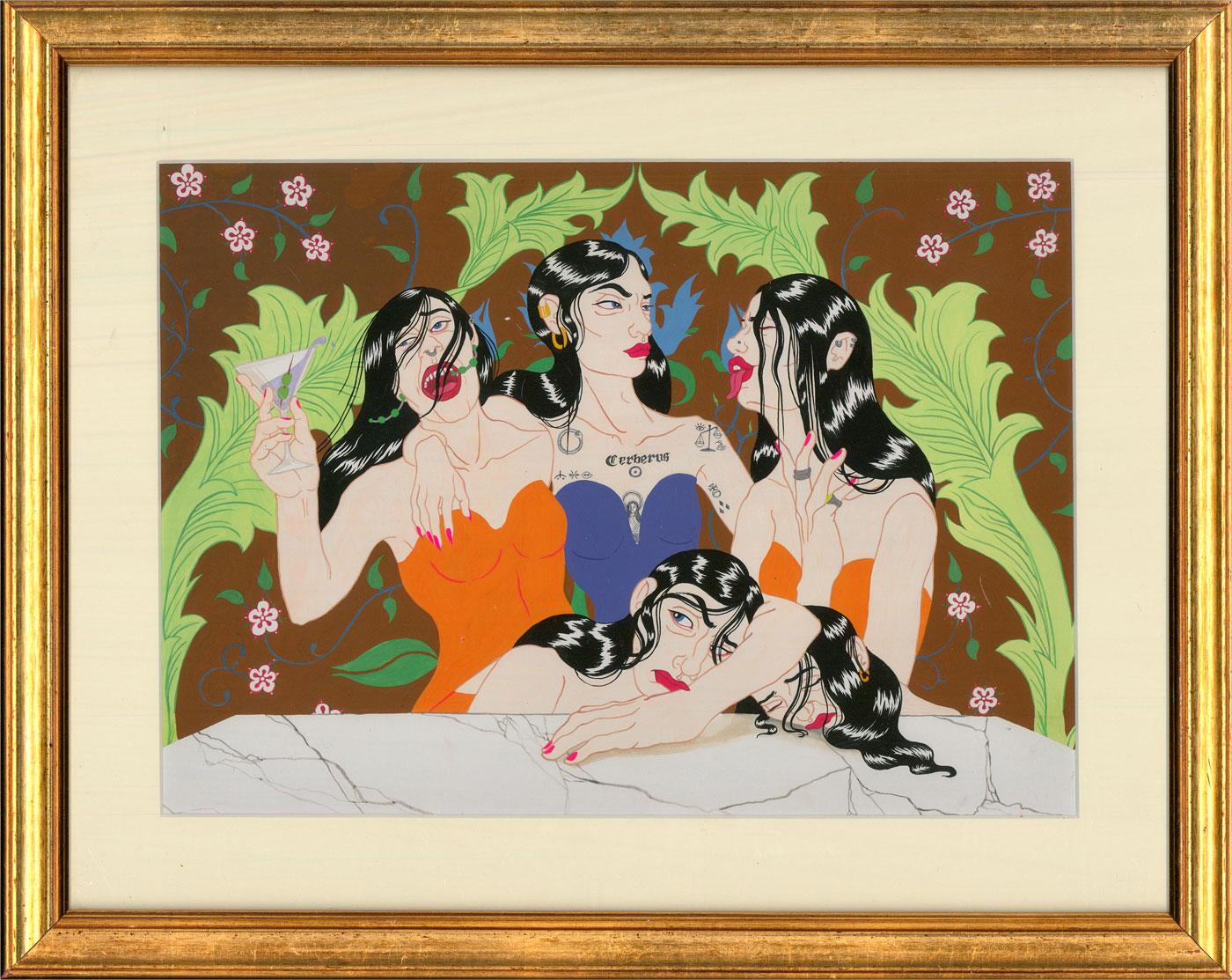 Isabelle Mulvany - Contemporary Gouache, Girls, Girls, Girls