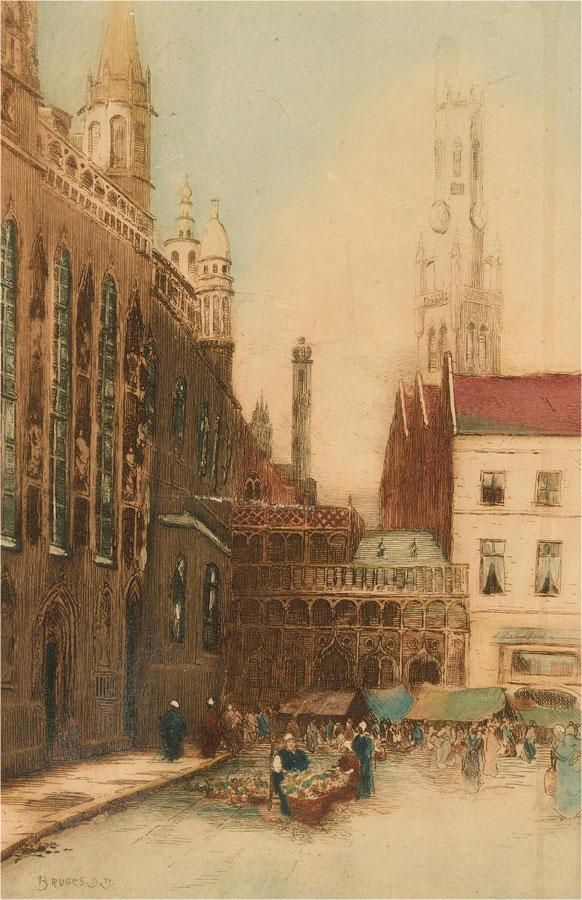1922 Etching - Bruges Street Market