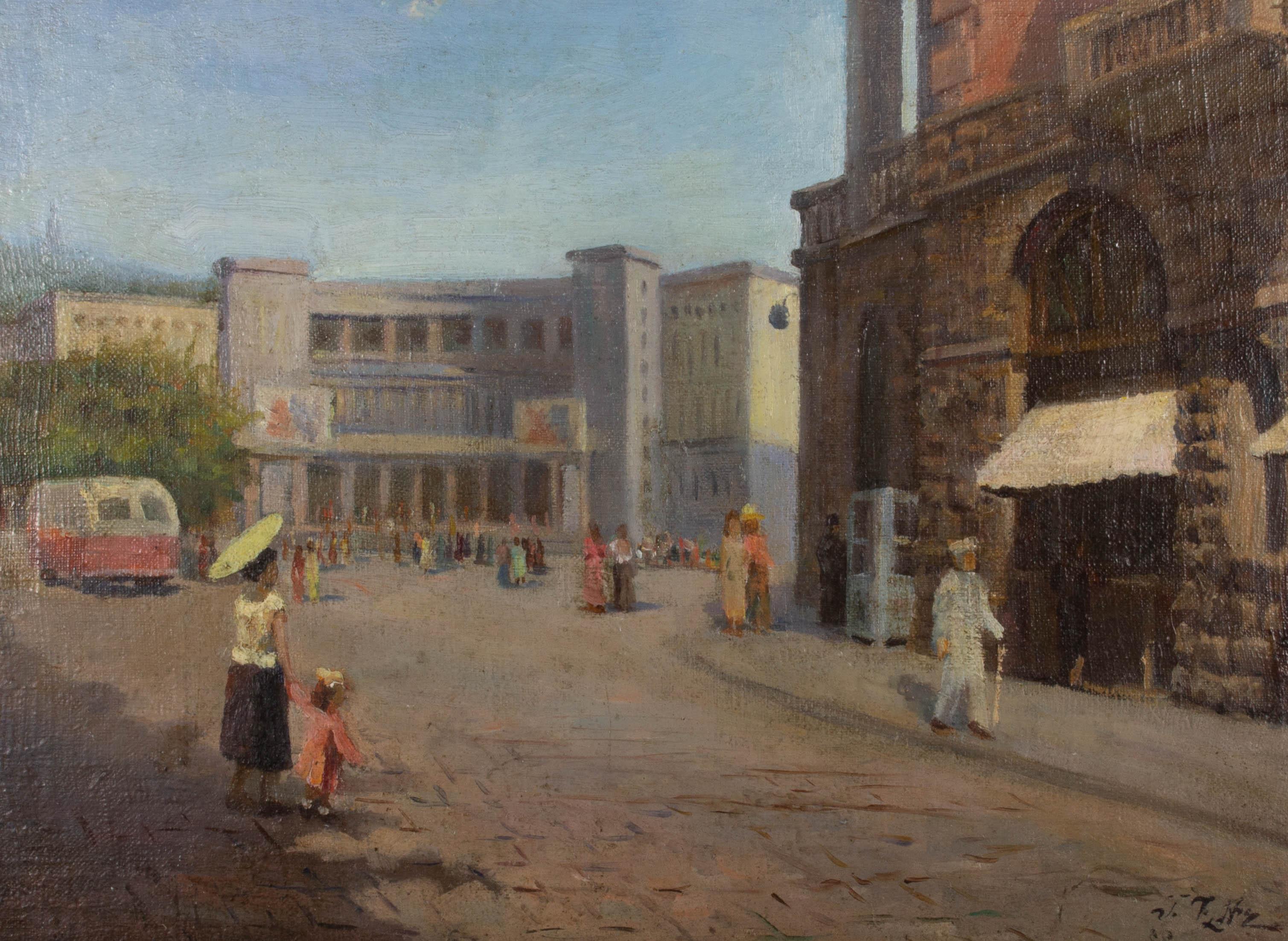 Mid 20th Century Oil - European Street Scene