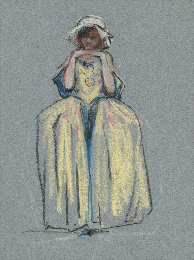 William Monk RE (1863-1937) - Early 20th Century Pastel, French Female Figure