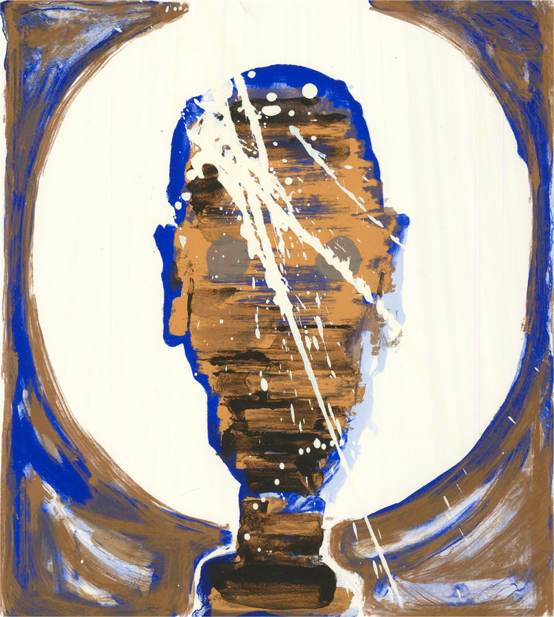 Mircea Marosin (1921-2007) - Mid 20th Century Silkscreen, Blue and Gold Portrait