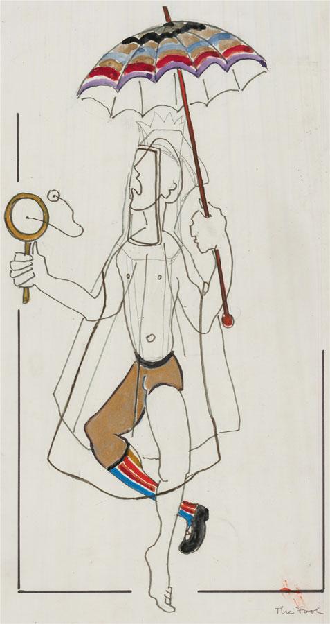 Mircea Marosin (1921-2007) - Mid 20th Century Graphite Drawing, The Fool