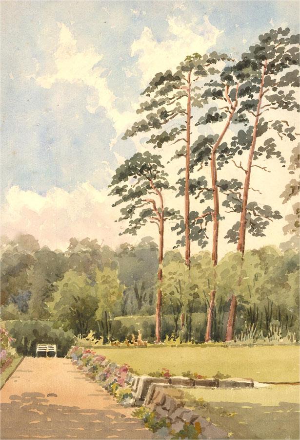 Raymond Turner Barker (1872-1945) - Watercolour, Formal Garden