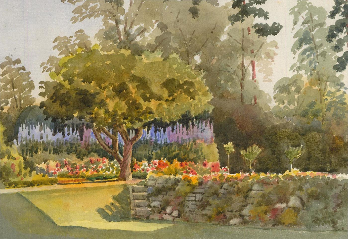 Raymond Turner Barker (1872-1945) - Watercolour, Sunlit Garden