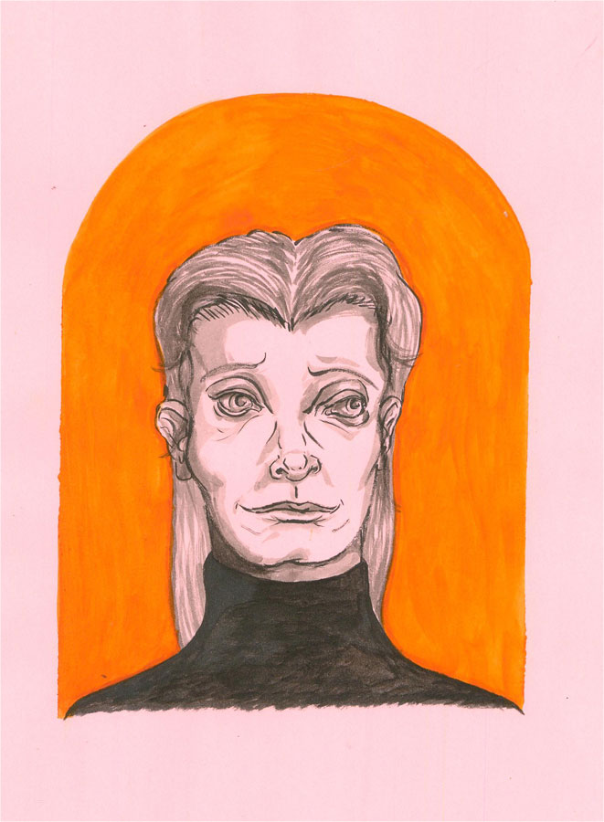 Isabelle Mulvany - 2018 Pen and Ink Drawing, Woman In Pink And Orange
