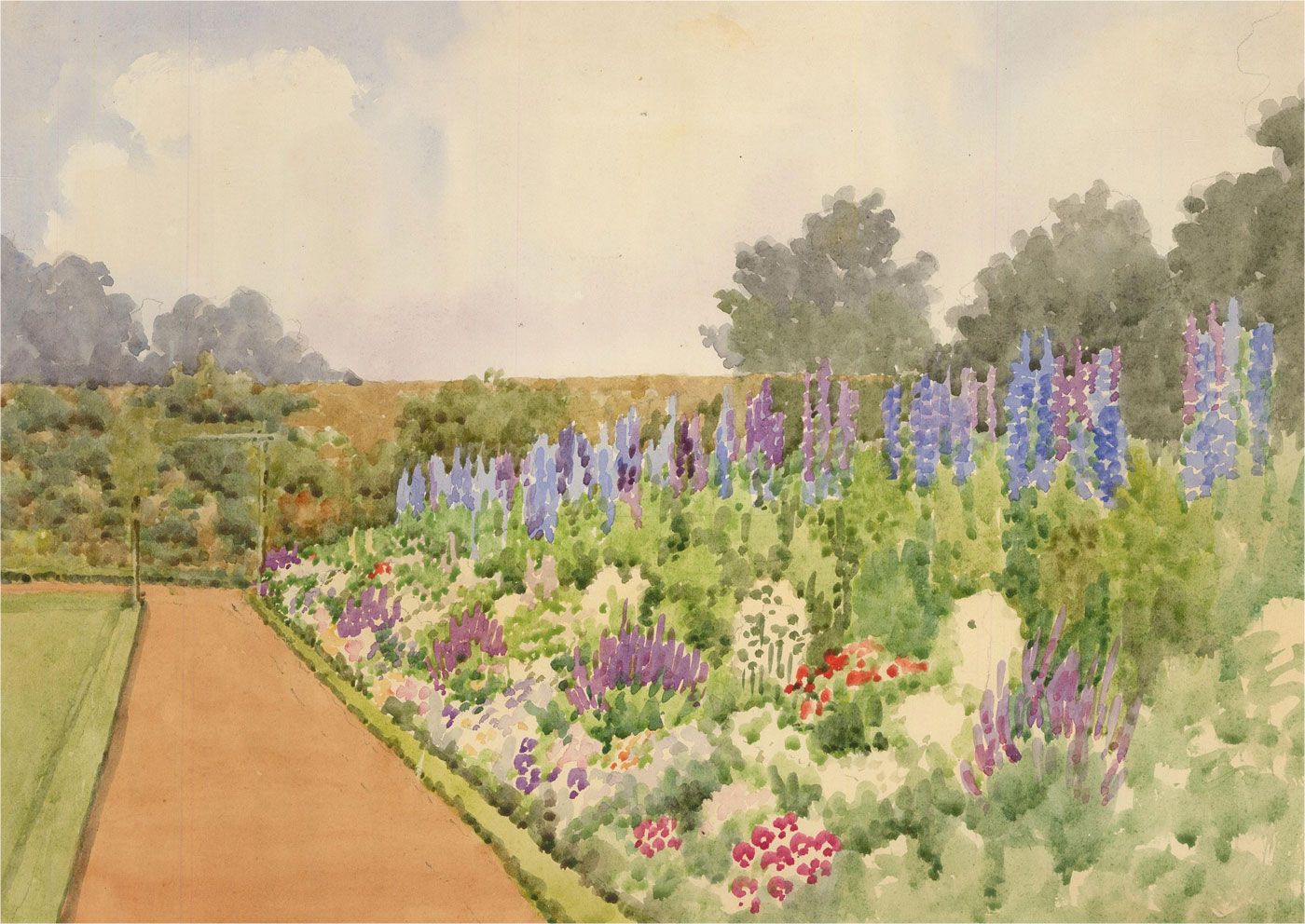 Raymond Turner Barker (1872-1945) - 1927 Watercolour, Herbaceous Border