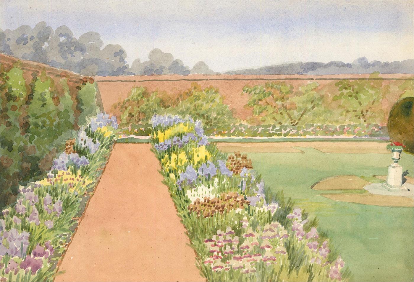Raymond Turner Barker (1872-1945) - 1931 Watercolour, Walled Garden