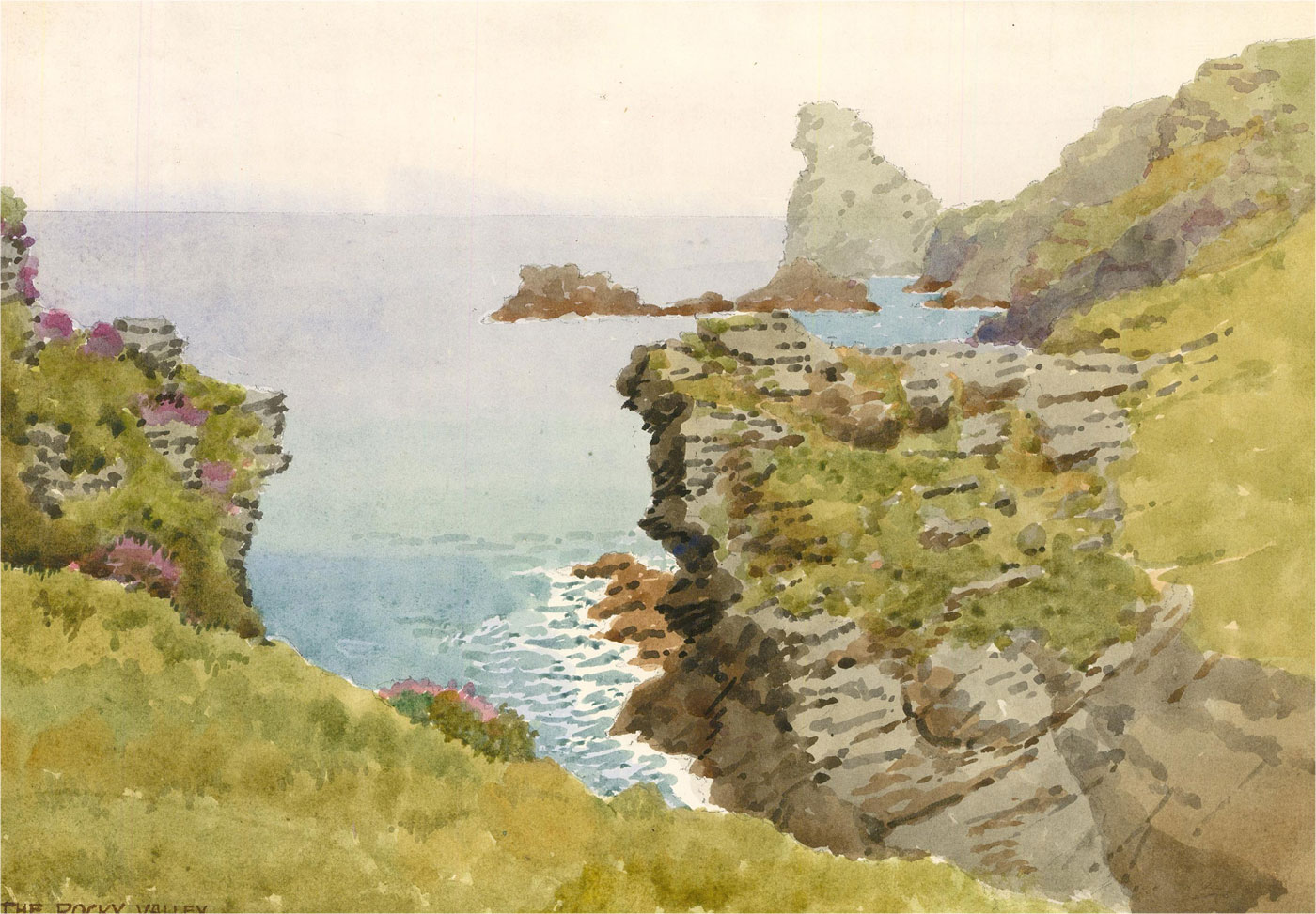 Raymond Turner Barker (1872-1945) - 1931 Watercolour, The Rocky Valley