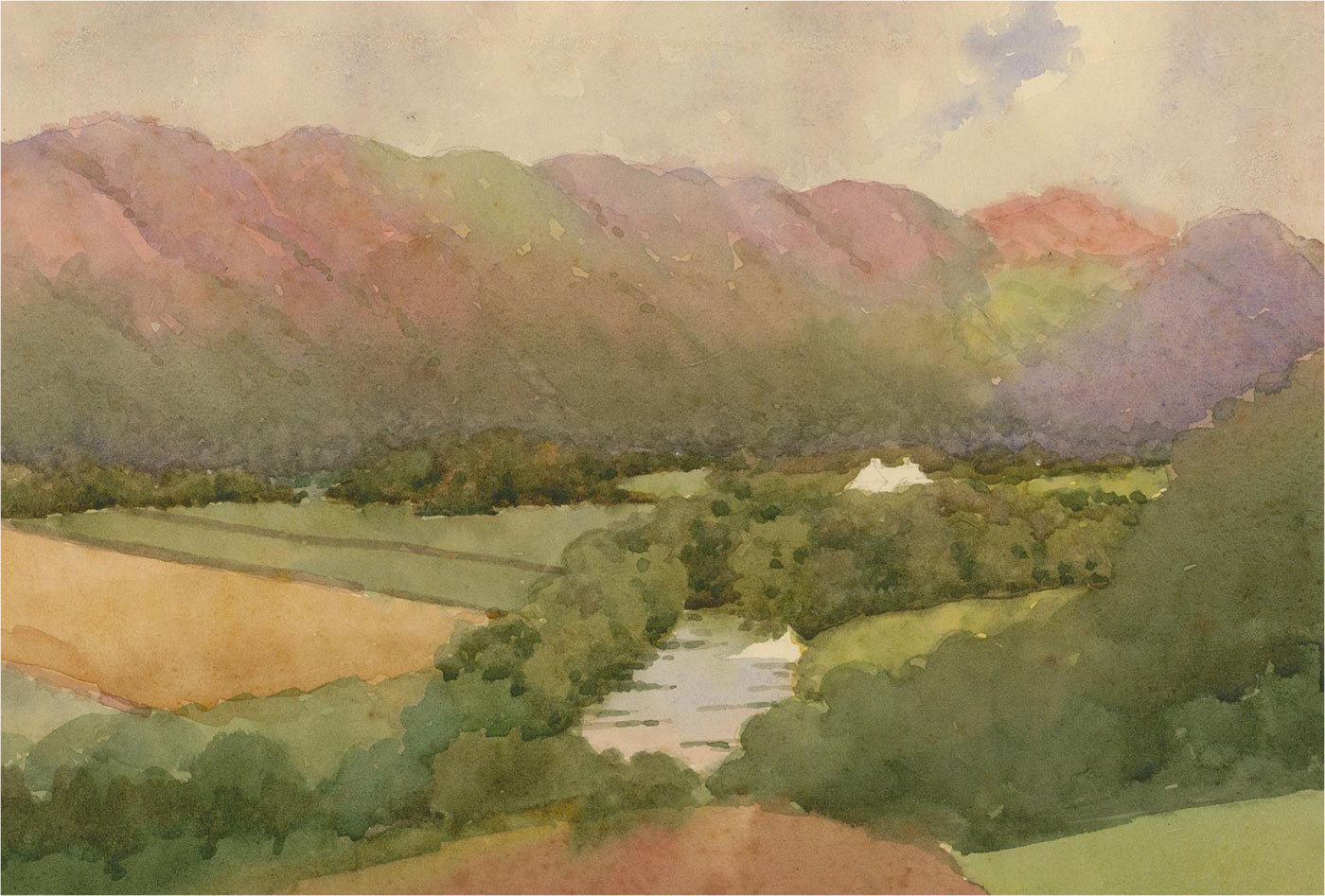 Raymond Turner Barker (1872-1945) - Early 20th Century Watercolour, River Valley