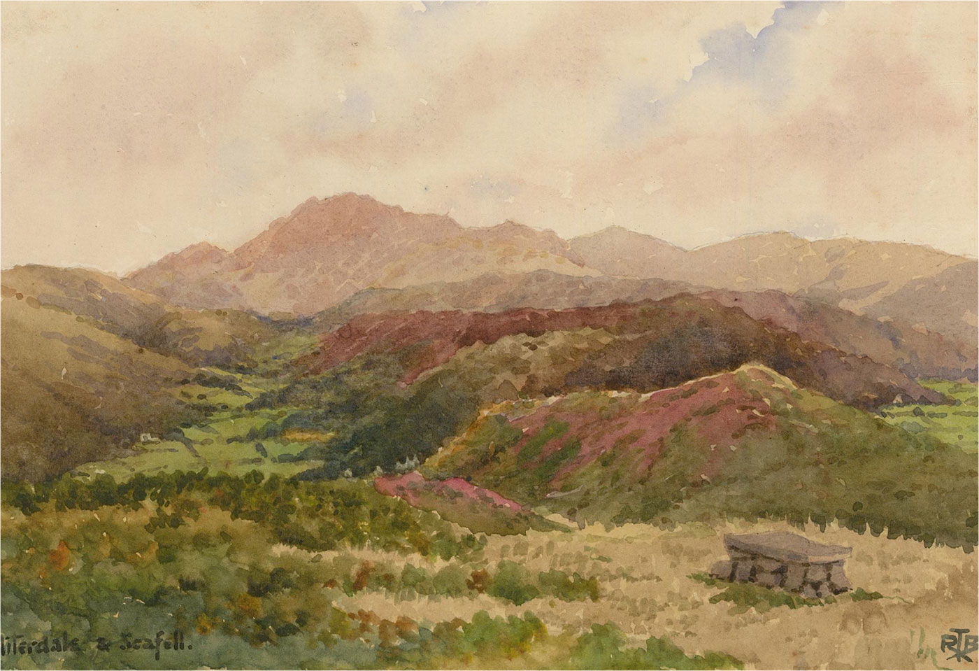 Raymond Turner Barker (1872-1945) - Watercolour, Miterdale and Scafell