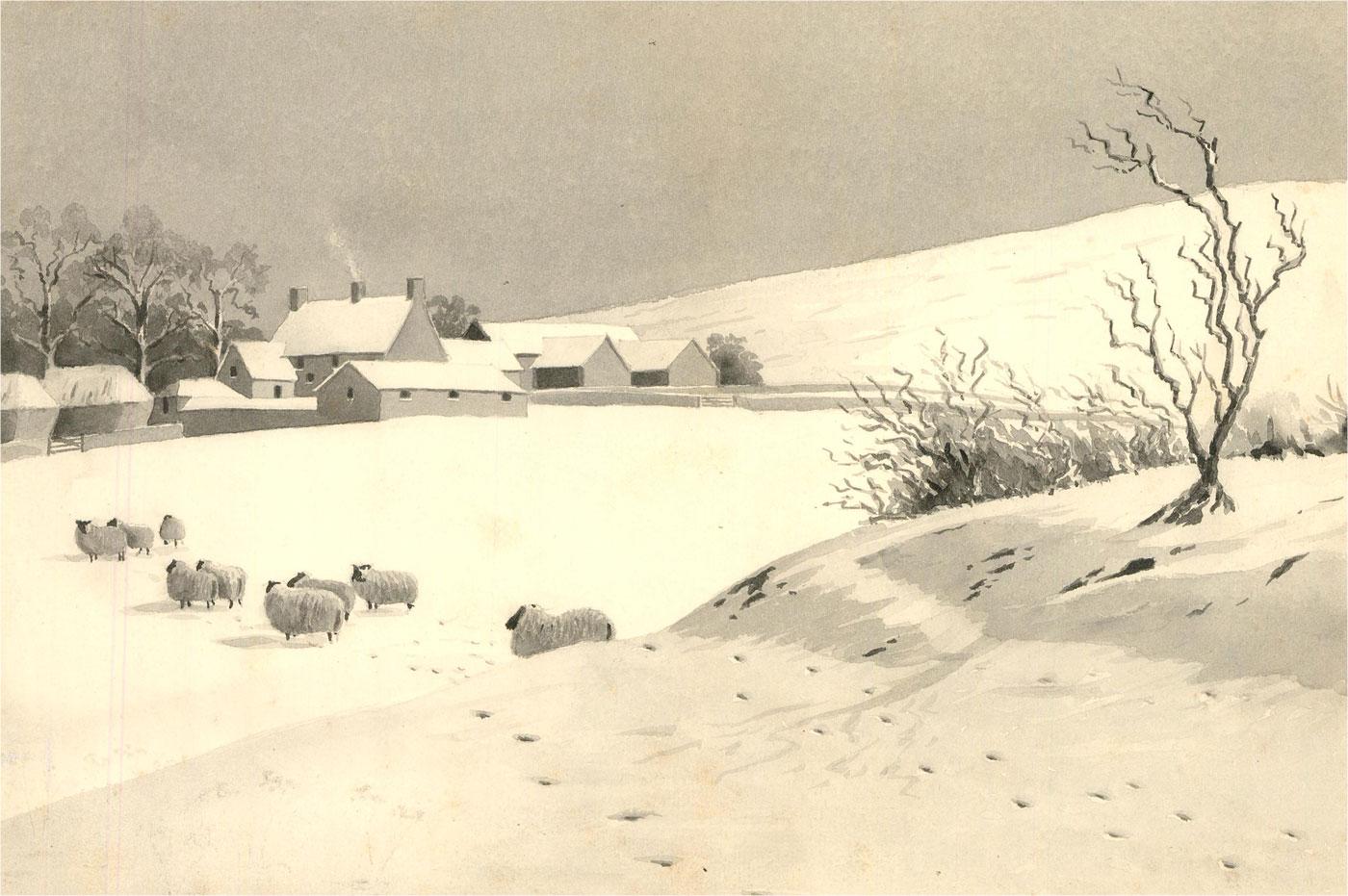 Raymond Turner Barker (1872-1945) - 1914 Watercolour, Winter Landscape