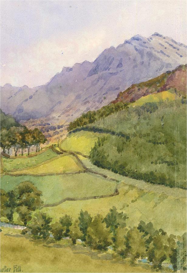 Raymond Turner Barker (1872-1945) - Watercolour, Harter Fell, Lake District
