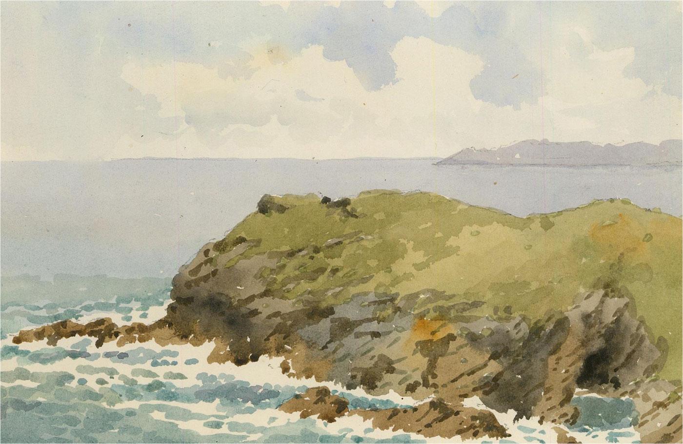 Raymond Turner Barker (1872-1945) - 1931 Watercolour, Barras Head, Tintagel