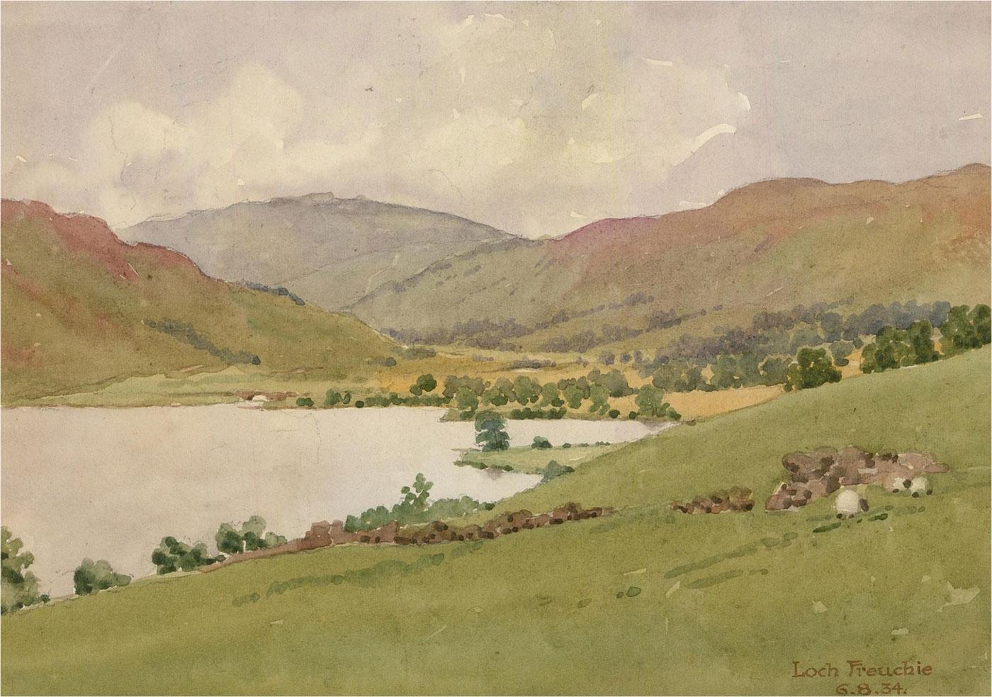 Raymond Turner Barker (1872-1945) - 1934 Watercolour, Loch Freuchie