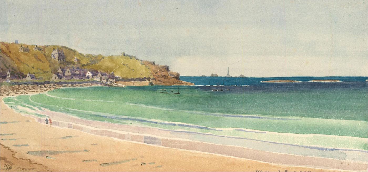 Raymond Turner Barker (1872-1945) - 1921 Watercolour, Whitsand Bay, Cornwall
