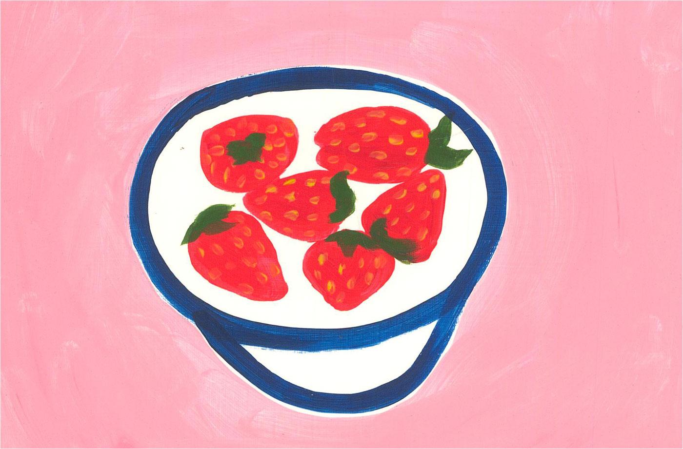 Sian Roberts - 2021 Acrylic, Strawberries