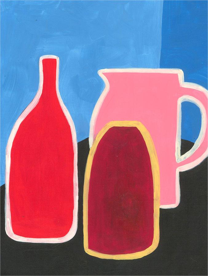 Sian Roberts - 2021 Acrylic, Three Vases