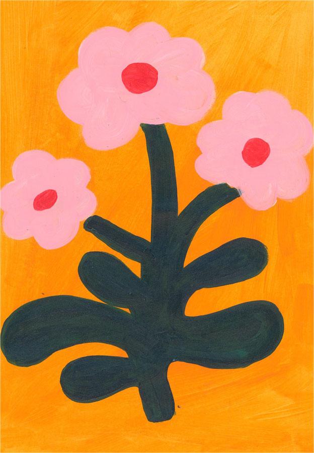 Sian Roberts - 2021 Acrylic, Pink Flowers