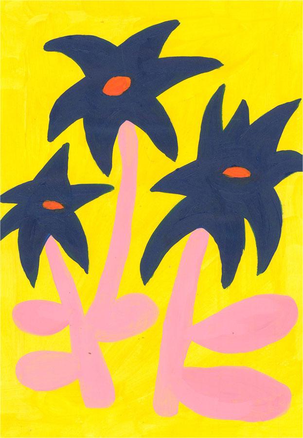 Sian Roberts - 2021 Acrylic, Blue Flowers