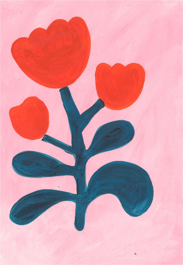 Sian Roberts - 2021 Acrylic, Red Flowers