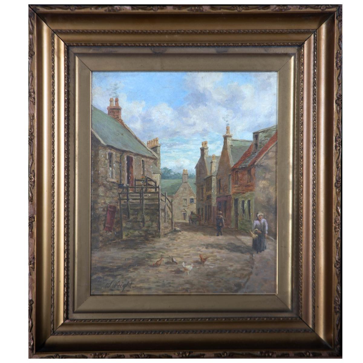 W. Wright - 1913 Oil, A Village Street