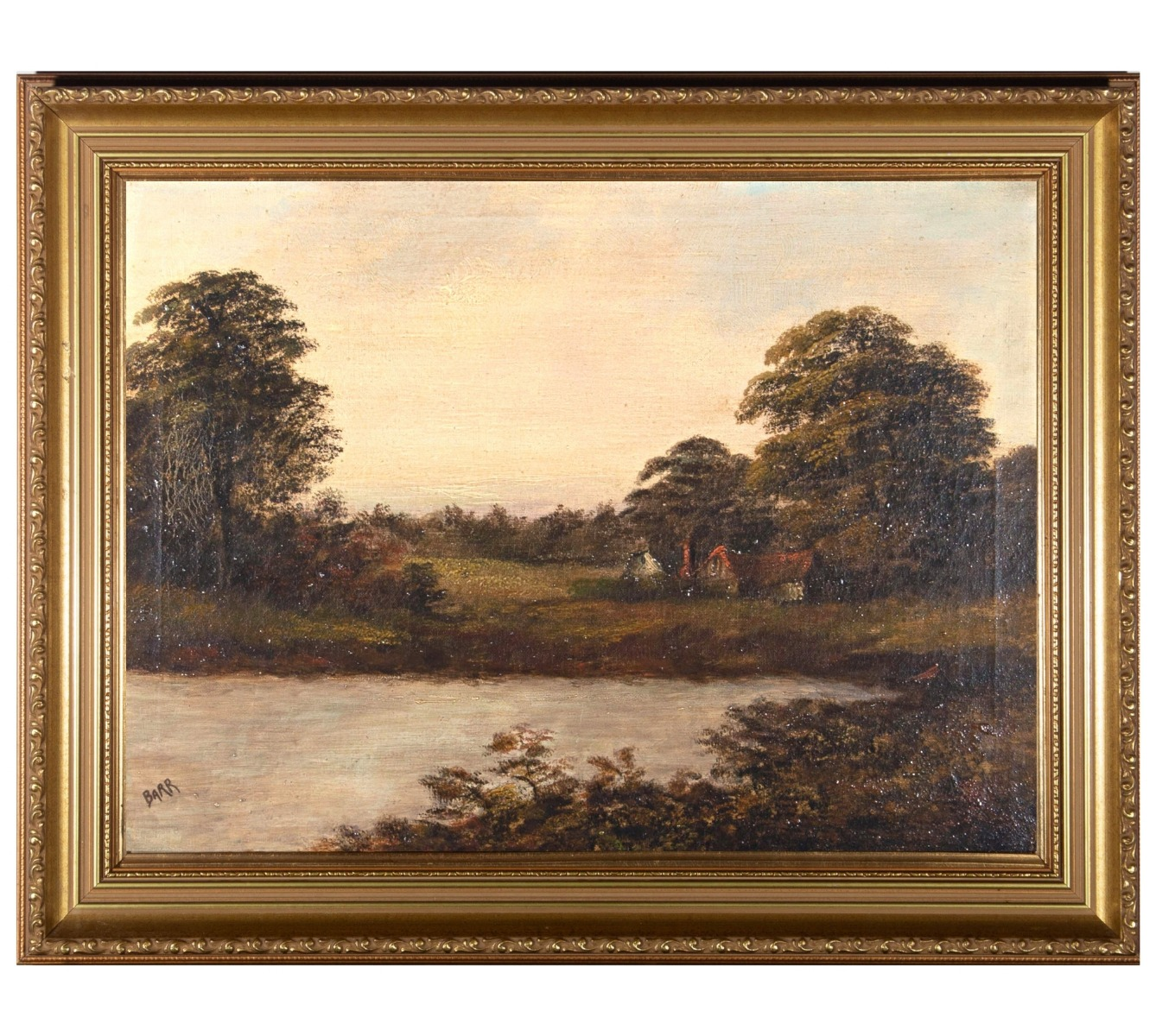 Barr - Early 20th Century Oil, Cottage by the Pond