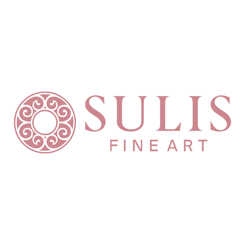Contemporary Oil - Town View with Docked Boats