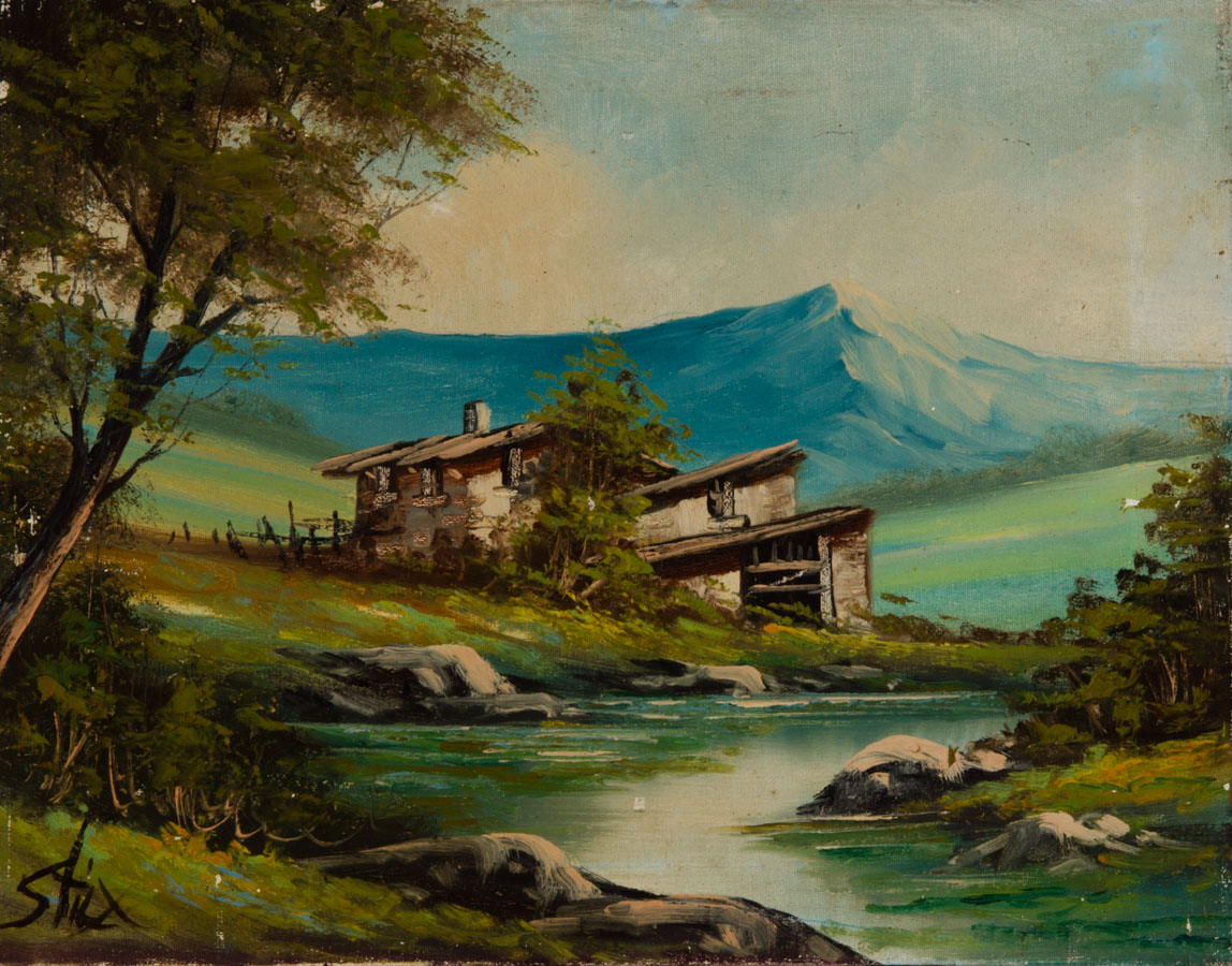 Mid 20th Century Oil Art House By A Lake