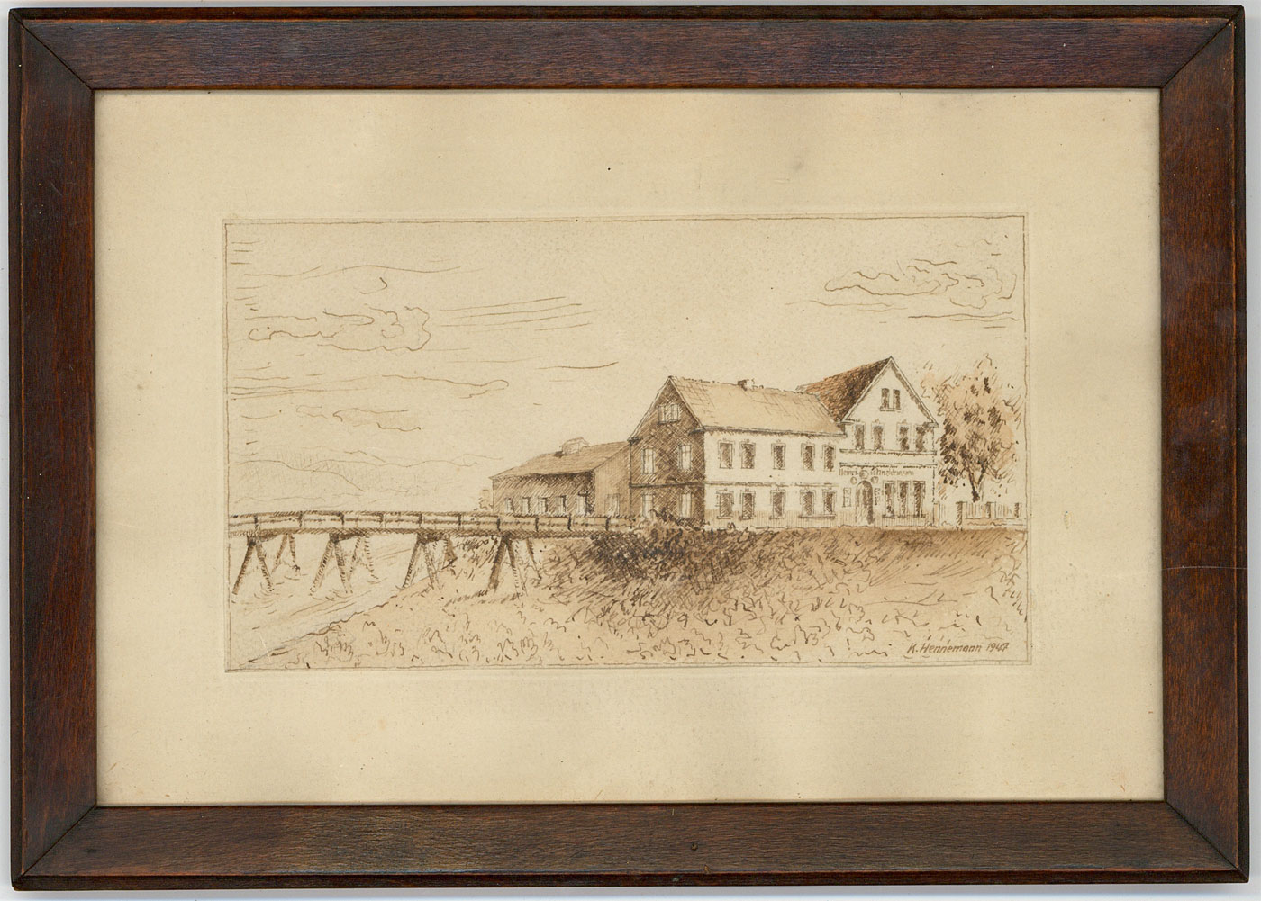 Details about K  Hennemann - 1947 Pen and Ink Drawing, Building and Jetty