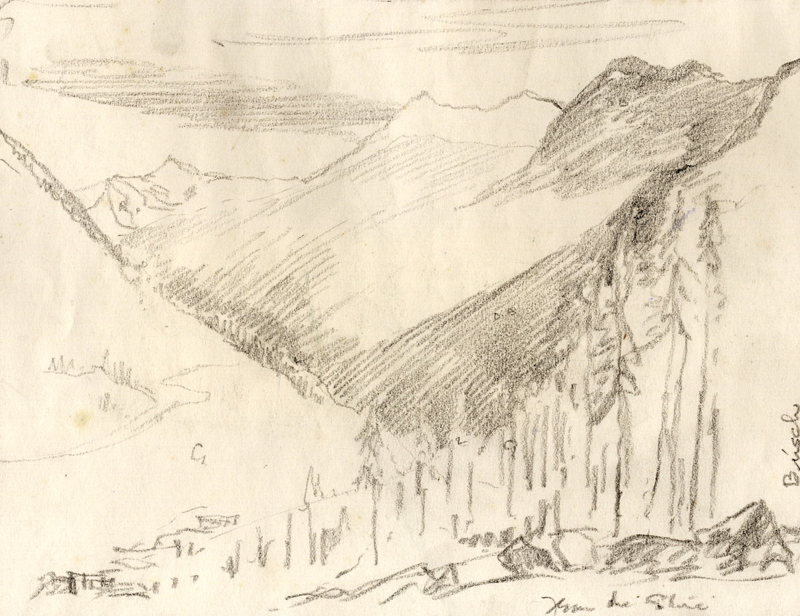 Marcus Adams Early 20th Century Graphite Drawing Mountain View Ebay