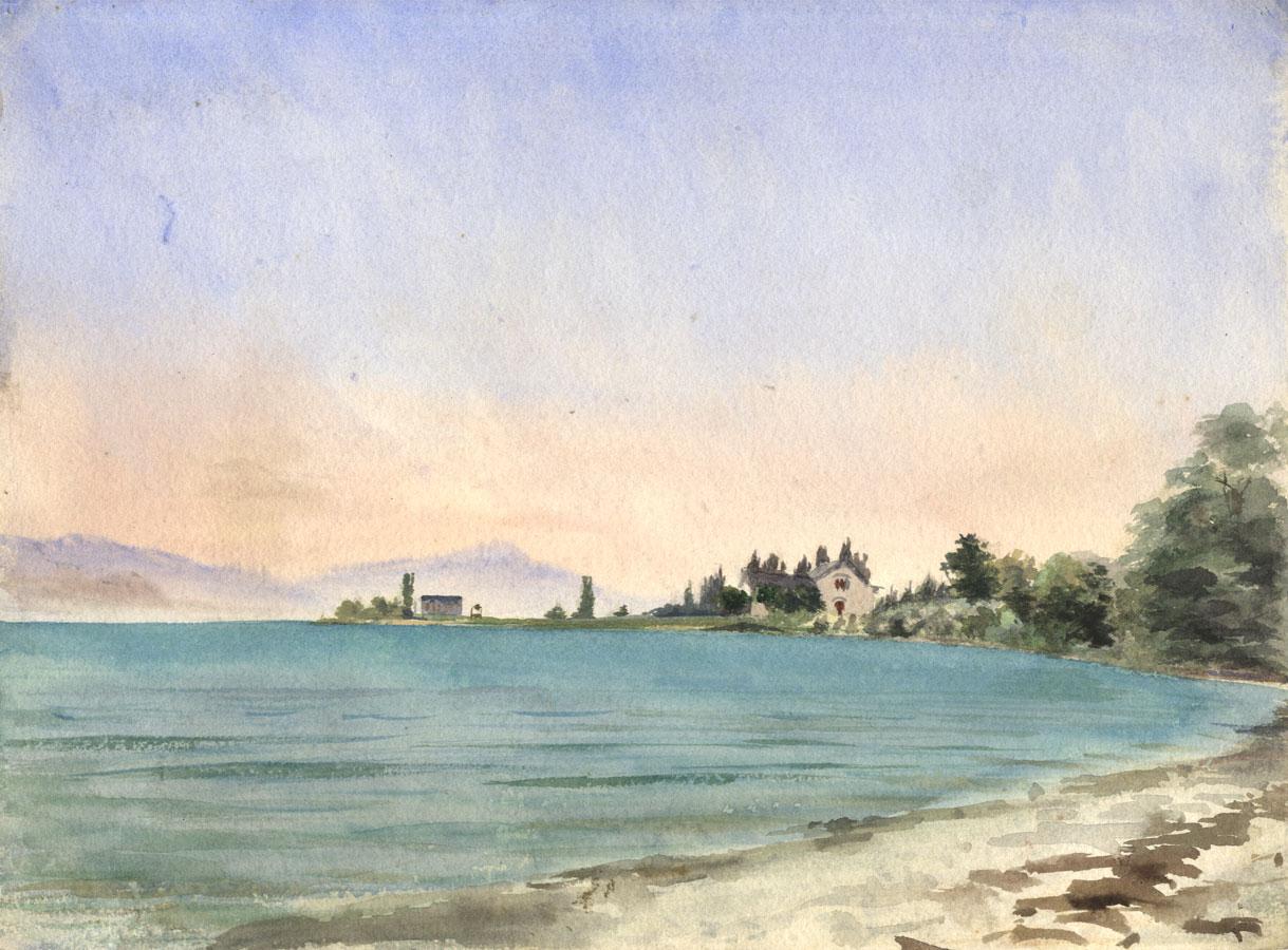 20th-Century-Watercolour-View-Across-a-Lake