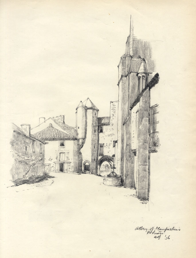 Self-Conscious Austin Blomfield 1956 Charcoal Drawing Pontois Last Style Abbey Of Maupertuis