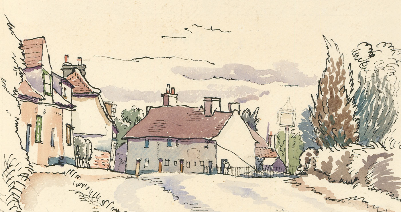 Contemporary pen and ink drawing village street scene